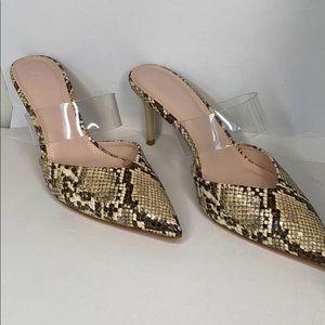 Zara mini stub slide Heels in Snake print